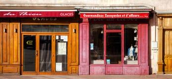 Frankreich-Einzelhandelsgeschäft-Eingang Stockbilder