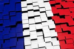 Frankreich-Flaggenhintergrund bildete sich von den digitalen Mosaikfliesen, Wiedergabe 3D Stockbilder