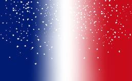 Frankreich-Flaggenunschärfe mit Papierfeierpartei-Überlagerungsstreuung AB lizenzfreie abbildung