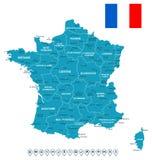 Frankreich-Karte, Flagge und Navigationsaufkleber - Illustration Lizenzfreies Stockbild
