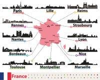 Frankreich-Karte mit Skylineschattenbild-Vektorsatz der größten Städte vektor abbildung