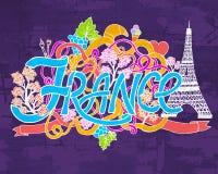 Frankreich-Kunstzusammenfassungs-Handbeschriftung und Gekritzelelementhintergrund Vektorillustration für bunte Schablone für Sie Lizenzfreie Stockfotos
