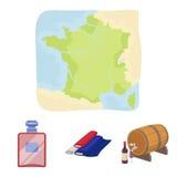 Frankreich, Land, Nation, national Vector gesetzte Sammlungsikonen Frankreich-Landes in der Karikaturart Illustration des Symbols Lizenzfreies Stockfoto