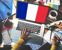 Frankreich-Landesflagge-Nationalitäts-Kultur Liberty Concept Lizenzfreie Stockfotografie