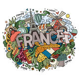 Frankreich-Landhandbeschriftung und Gekritzelelemente Stockbild
