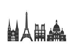Frankreich-Logo Lokalisierte französische Architektur auf weißem Hintergrund stock abbildung
