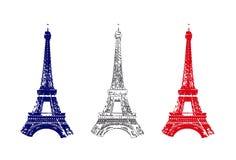 Frankreich-Markierungsfahne mit Ausflug Eiffel Stockfotografie