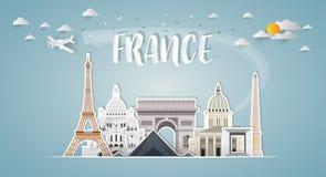 Frankreich-Markstein-globaler Reise- und Reisepapierhintergrund Vect lizenzfreie abbildung