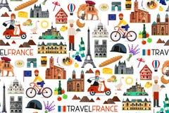 Frankreich-Marksteine und Reise-Karte Auch im corel abgehobenen Betrag Lizenzfreies Stockfoto