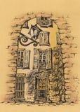 frankreich Menton im Süden von Frankreich Zeichnung Stockfotos