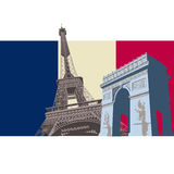 Frankreich mit Paris-Markierungsfahne Stockfoto