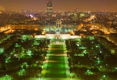 Frankreich. Paris. Ansicht vom Ausflug Eiffel nachts Lizenzfreie Stockfotos