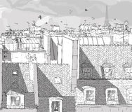 Frankreich-- Paris-Dächer stock abbildung