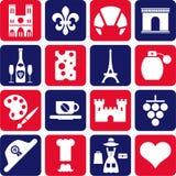 Frankreich-Piktogramme Stockbild