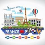 Frankreich-Reise träumt Bestimmungsort, Frankreich-Reisesymbole, Symbole von Frankreich, Markstein Lizenzfreies Stockbild