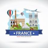 Frankreich-Reise träumt Bestimmungsort, Frankreich-Reisesymbole, Symbole von Frankreich, Markstein Lizenzfreies Stockfoto