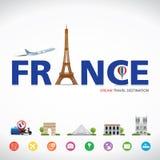 Frankreich-Reise träumt Bestimmungsort, Frankreich-Reisesymbole, Symbole von Frankreich, Markstein Lizenzfreie Stockfotografie