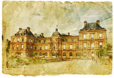 Frankreich - Retro- Artabbildung Stockbild