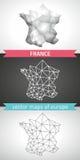 Frankreich-Satz Grau und polygonale Karten des Silbermosaiks 3d Stockfotografie