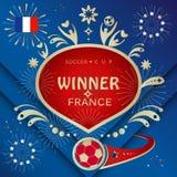 Frankreich-Siegerfahne Russland-Weltcup-Fußball 2018 Lizenzfreie Stockfotos