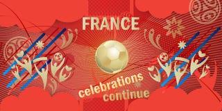 Frankreich-Siegerfahne Russland-Weltcup-Fußball 2018 Lizenzfreie Stockfotografie