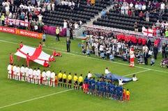 Frankreich und die England-Fußballteams Stockfotos