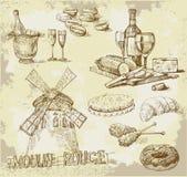 Frankreich-ursprüngliche Hand gezeichnetes Set Stockfotos