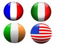 Frankreich, USA, Irland, Italien, Markierungsfahnen Lizenzfreie Stockfotos