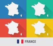 Frankreich-Weltkarte in der flachen Art mit 4 Farben Lizenzfreie Stockbilder