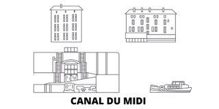 Frankrijk, Canal du Midi -de horizonreeks van de lijnreis Frankrijk, Canal du Midi -de vectorillustratie van de overzichtsstad, s vector illustratie
