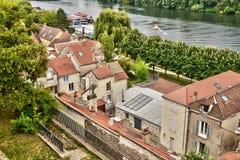 Frankrijk, de schilderachtige stad van Conflans Sainte Honorine Royalty-vrije Stock Foto's