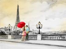 Frankrijk, de toren van Eiffel en paar jonge jongens, vrouw royalty-vrije illustratie