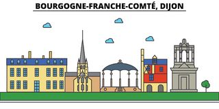 Frankrijk, Dijon, Bourgogne Franche Comte De architectuur van de stadshorizon, stock illustratie
