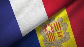Frankrijk en Andorra twee vlaggen textieldoek, stoffentextuur royalty-vrije illustratie