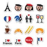 Frankrijk, houd ik geplaatste van de pictogrammen van Parijs Royalty-vrije Stock Foto's