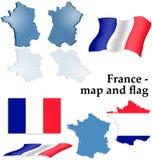 Frankrijk - kaart en vlagreeks Royalty-vrije Stock Afbeeldingen