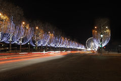 Frankrijk. Parijs. Champs Elysees bij nacht royalty-vrije stock foto's