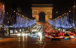 Frankrijk. Parijs. Champs Elysees en Arch DE Triomphe stock fotografie