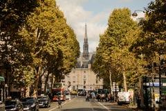 FRANKRIJK, PARIJS - OKTOBER 20, 2017: De kathedraal van Notredame de paris tussen de bomen op de horizon stock afbeeldingen