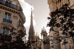 FRANKRIJK, PARIJS - OKTOBER 20, 2017: Toren van de kathedraal van Notre Dame de Paris in de dag stock foto's