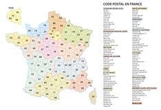 Frankrijk 2 post de codes vectorkaart van cijferpostcodes vector illustratie