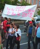 Frankrijk protesteert de Veranderingen van de Leeftijd van de Pensionering stock foto's