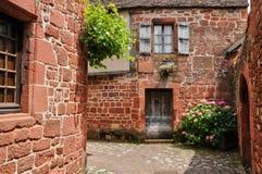 Frankrijk, schilderachtig dorp van Collonges-de Rouge van La stock foto's