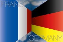 Frankrijk versus de vlaggen van Duitsland Stock Afbeeldingen