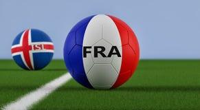 Frankrijk versus Het Voetbalgelijke van IJsland royalty-vrije illustratie