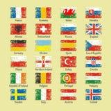 Frankrijk 2016 vlaggen van voetbalpictogrammen van de deelnemende landen Stock Foto