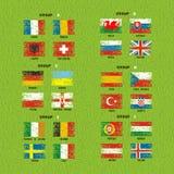 Frankrijk 2016 vlaggen van voetbalpictogrammen van de deelnemende landen Stock Foto's