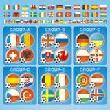 Frankrijk 2016 vlaggen van voetbalpictogrammen van de deelnemende landen Stock Fotografie