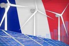 Frankrijk zonne en digitaal de grafiekconcept van de windenergie - alternatieve natuurlijke energie industriële illustratie 3D Il stock illustratie
