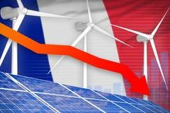 Frankrijk zonne en windenergie die grafiek, pijl verlagen - groene natuurlijke energie industriële illustratie 3D Illustratie royalty-vrije illustratie